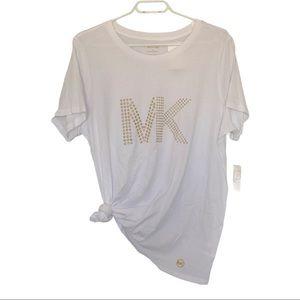 NWT Michael Kors studded logo t shirt white SZ 1X